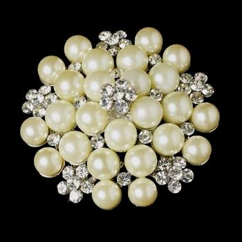 Silver Ivory Pearl Rhinestone Bridal Brooch