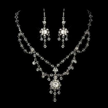 Antique Crystal and Rhinestone Chandelier Set