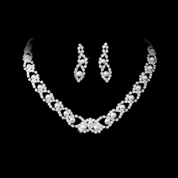 Silver White Pearl & Crystal Jewelry Set