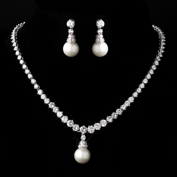 Silver White Pearl Necklace and Earring Set