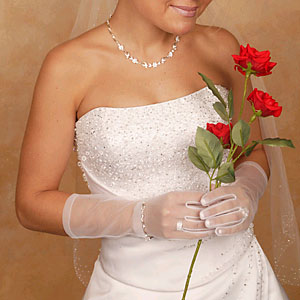 SHEER WRIST LENGTH GLOVES  BY WEDDING FACTORY DIRECT