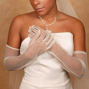 SHEER GLOVE ABOVE ELBOW  BY WEDDING FACTORY DIRECT