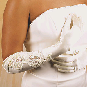 IVORY SATIN GLOVE  BY WEDDING FACTORY DIRECT