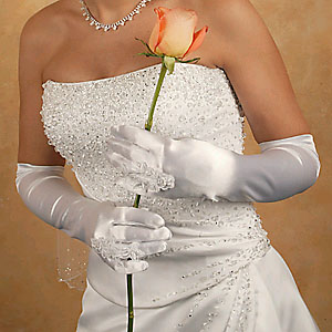 SATIN RING FINGER GLOVE  BY WEDDING FACTORY DIRECT