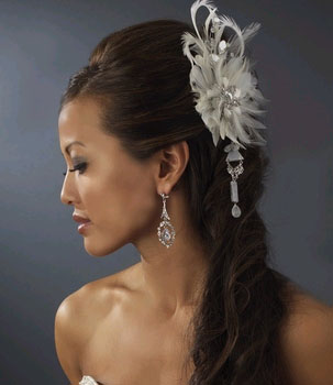FEATHER & CRYSTALS FASCINATOR    by WEDDING FACTORY DIRECT