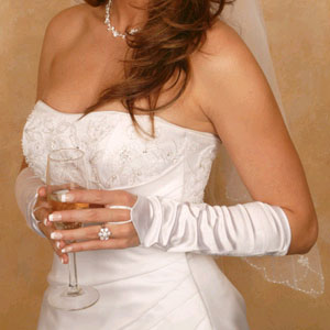 SATIN FINGERLESS GLOVES  BY WEDDING FACTORY DIRECT