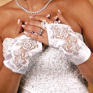 SATIN WRIST FINGERLESS GLOVES  BY WEDDING FACTORY DIRECT