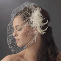 FEATHER FASCINATOR & CAGE VEIL by WEDDING FACTORY DIRECT