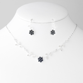Necklace Earring Set in Silver Black