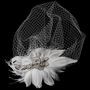 Vintage Couture Feather Bridal Headpiece  BY WEDDING FACTORY DIRECT