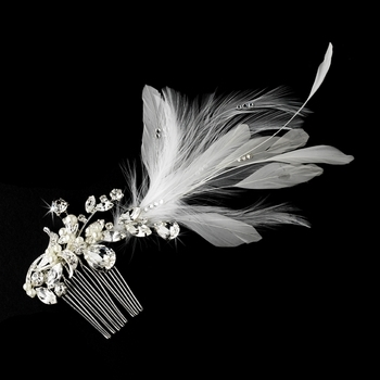 Vintage Bridal Comb w/ White Feathers by WEDDING FACTORY DIRECT