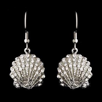 Silver Clear Sea Shell Earring Set