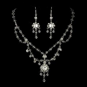 Antique Crystal and Rhinestone Chandelier Set