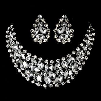 Rhodium Silver Clear Necklace Earring Set