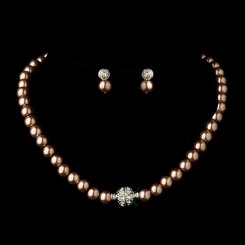 Glass Pearl Pave Ball Necklace & Earrings