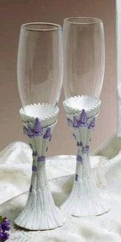 Snowflake Wedding Toasting Flutes