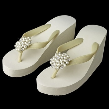 Flower Cluster Rhinestone and  Pearl High Wedge