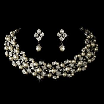 Silver Diamond White Necklace & Earrings Jewelry Set