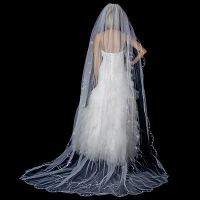 Single Tier Cathedral Veil Accented in Flower Embroidery & Crystals by WEDDING FACTORY DIRECT
