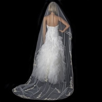 Single Layer Floral Embroidery Cathedral Length Ivory Rum Veil with Satin Ribbon Edge by WEDDING FACTORY DIRECT
