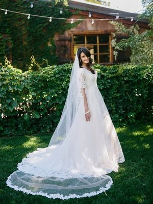 Single Tier Cathedral Veil with Lace Edge by ENVOGUE ACCESSORY'S