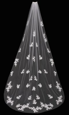 Single Tier Cathedral Veil with Flowers by ENVOGUE ACCESSORY'S