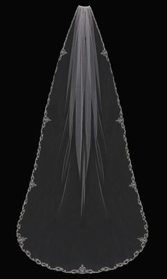Single Tier Cathedral Veil with embroidered lace edge by ENVOGUE ACCESSORY'S