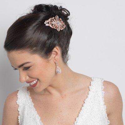 Rose Gold Clear Rhinestone Hair Comb