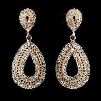 Rose Gold Plated Clear Rhinestone Earrings