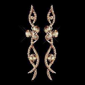 Rose Gold Champagne Rhinestone Dangle Earrings