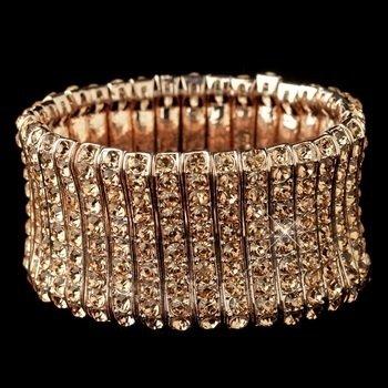 Rose Gold Rhinestone Stretch Bracelet
