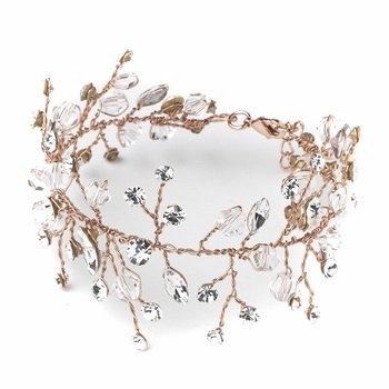 Rose Gold Crystal Vine Leaf Bridal Wedding Bracelet