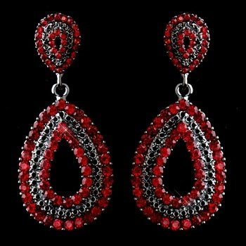Antiques Silver Red Rhinestone Earrings