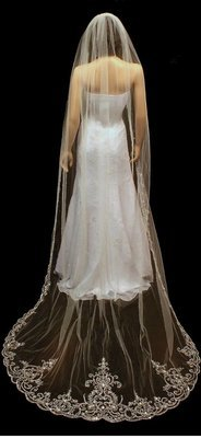 Regal Length Silver Thread Cathedral Veil by 1ST CLASS BRIDAL