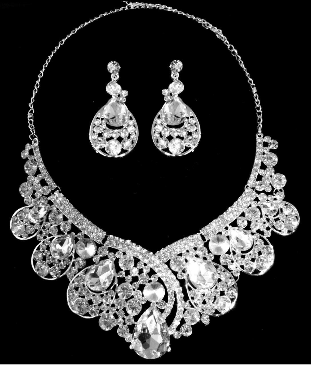 Silver Stone Necklace Set
