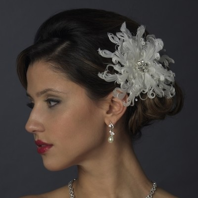 Crystal & Rhinestone Feather Flower Hair Clip by WEDDING FACTORY DIRECT