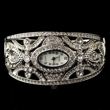 Silver Clear Rhinestone Watch