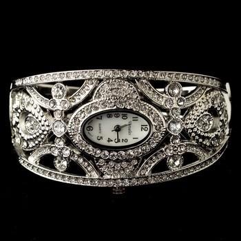 Silver Clear Rhinestone Watch