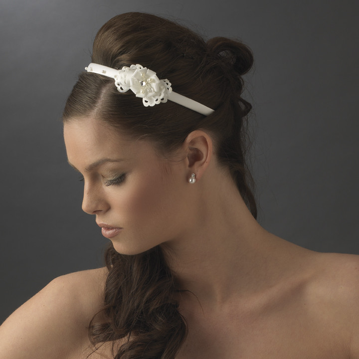 Ivory Bridal Headband with Flower Side Accent