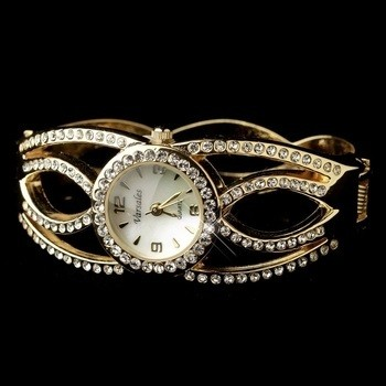 Gold Clear Round Rhinestone Bangle