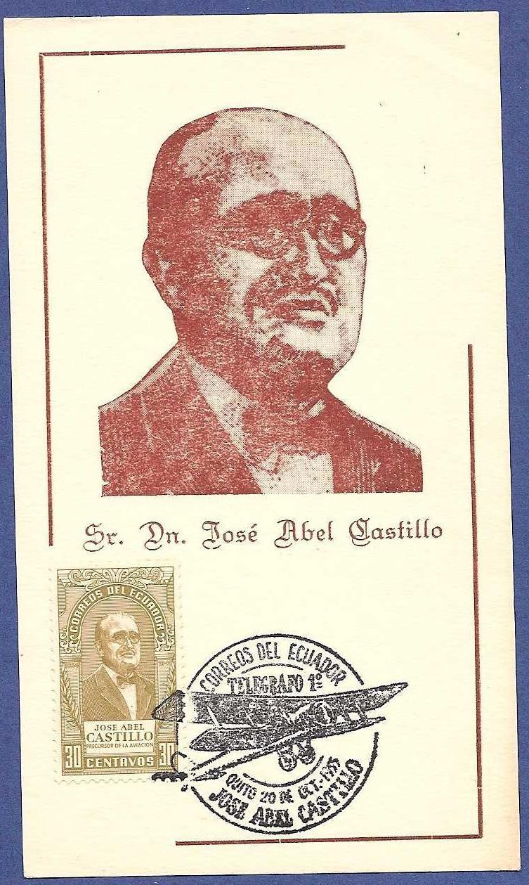 ECUADOR maximum card  1955 Airmail promotor J.A. Castillo