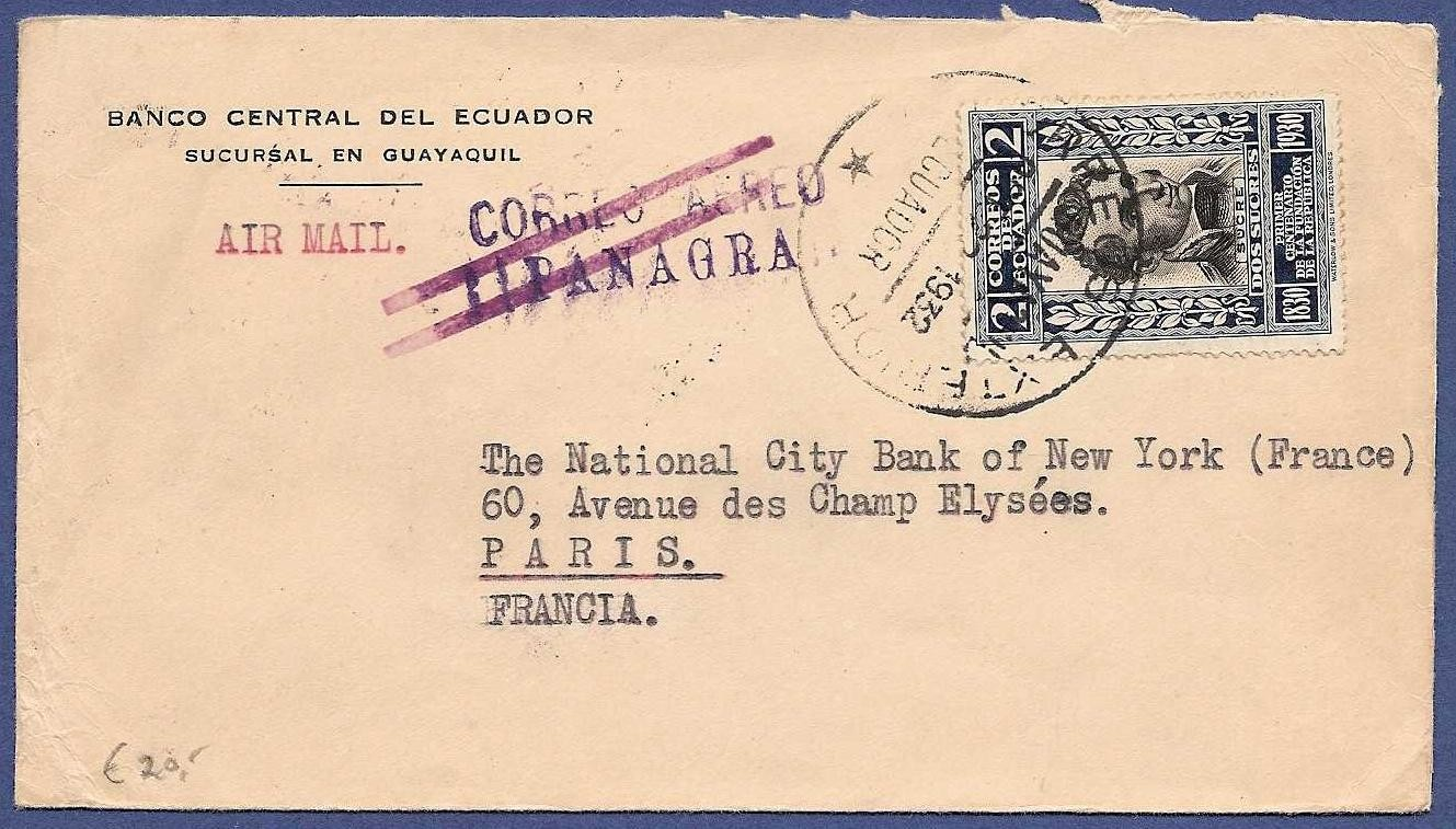 ECUADOR airmail cover 1932 Guayaquil by Panagra to France