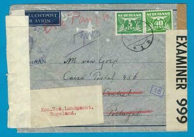 NEDERLAND brief 1942 Zaamslag naar PO Box 456 Lissabon