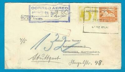 BOLIVIA censor air cover 1940 La Paz to Germany by Air France