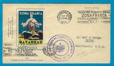 CUBA cover Zona Franca 1935 Matanzas with stamp used at 1st day