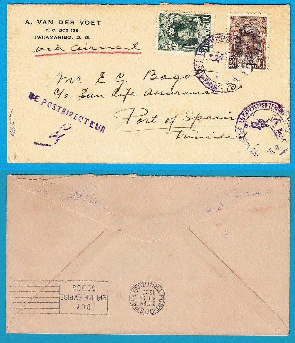SURINAME Lindbergh flight 25-09-1929 to Trinidad