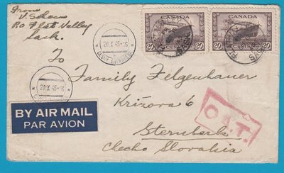 CANADA airmail cover 1945 Flat Valley with OAT cachet to Czechoslovakia