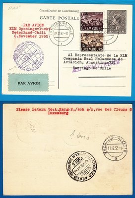 LUXEMBOURG card  by KLM openingsflight to Chile 1952