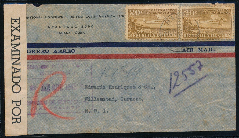 CUBA censored R air cover 1945 to Curaçao