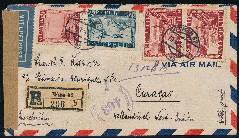 AUSTRIA R air censor cover 1946 to Curaçao